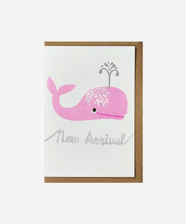 Petra Boase - Riso Baby Card - Pink Whale