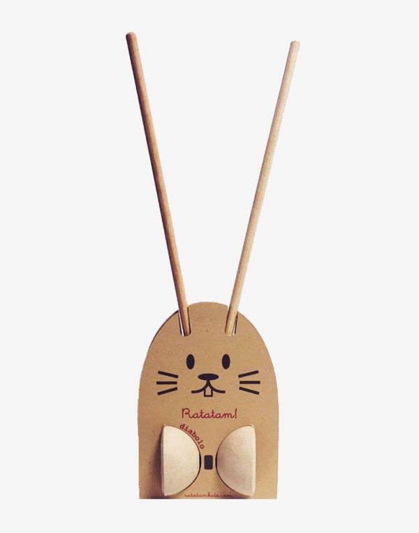 Ratatam   Diabolo made of natural hemp in a sweet rabbit packaging.   Size: Sticks 49cm, rope 149cm.  Colour: natural.  Composition: Hemp, wood.   Designed and made in France