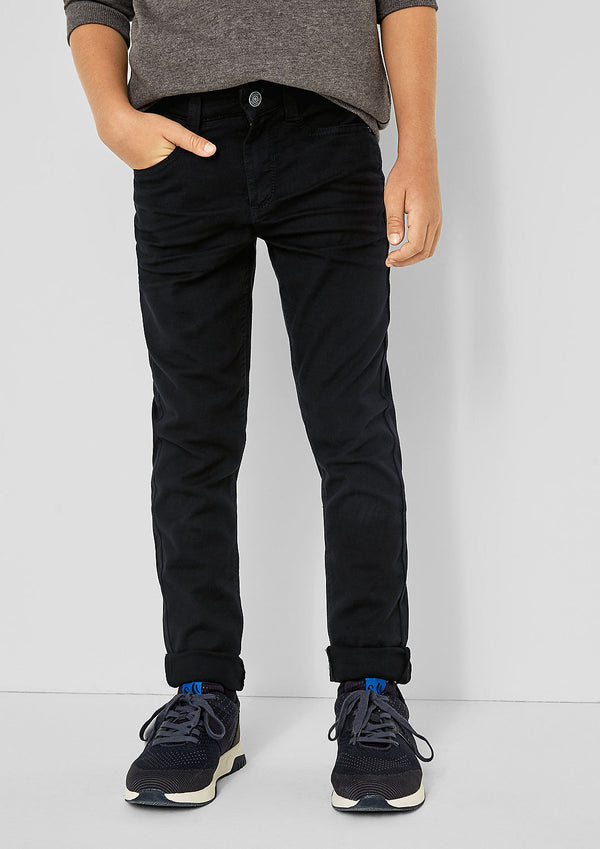 S.OLIVER BOY CANVAS STRETCH PANTS SKINNY SEATTLE BLACK SLIM