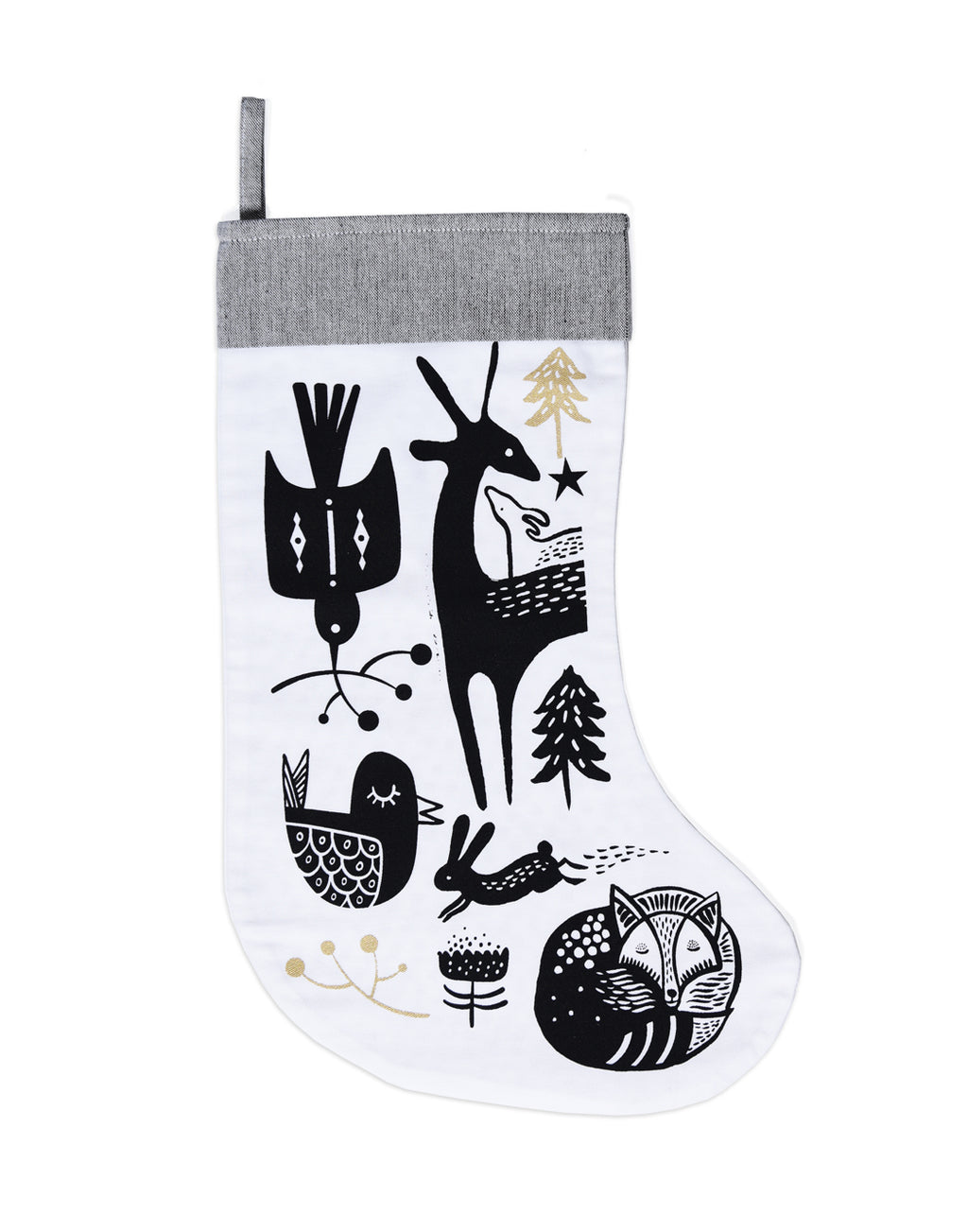 - Wee Gallery -  This Christmas stocking will give a beautiful touch to your baby's first holiday season. Tree and bunny screen-printed in black on organic cotton twill with gold highlights. The inner layer of the stocking is printed with golden dots. Grey band at the top with sturdy loop for hanging.