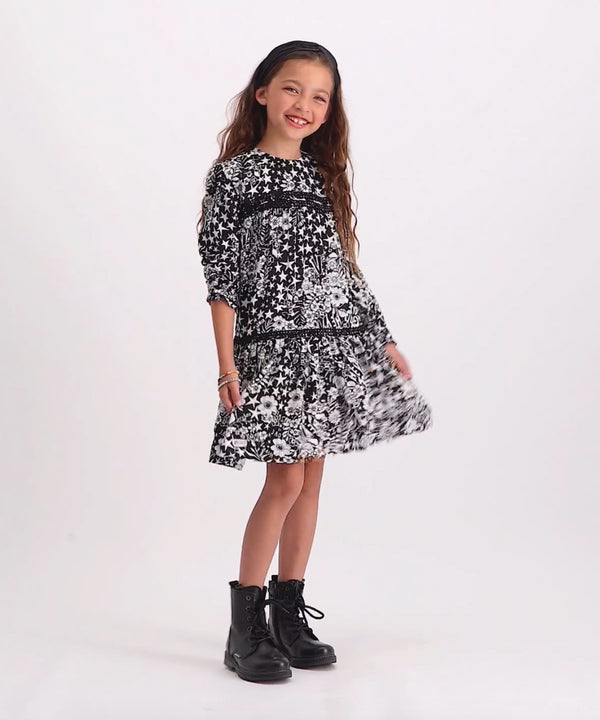VINGINO Girls Parisa Dress AOP  Deep Black
