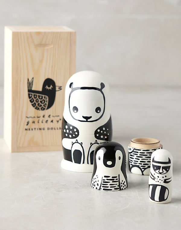 Wee Gallery - Set of 3 Nesting Dolls - Black & White Animals