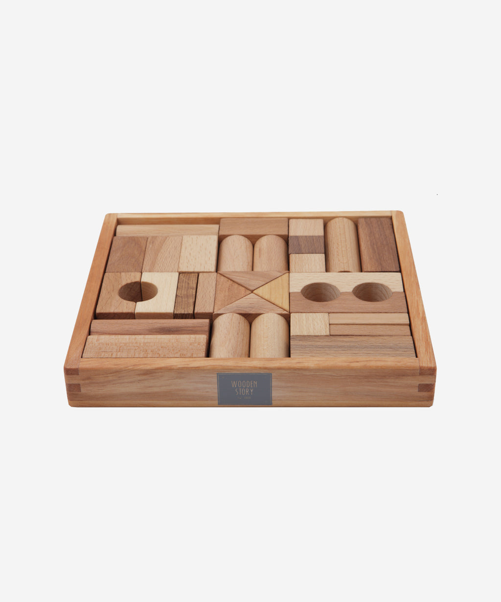 Wooden Story - Natural Blocks in Tray - 30pcs