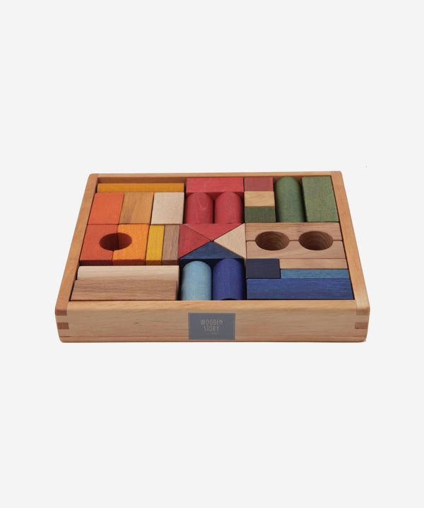 Wooden Story - Rainbow Blocks in Tray - 30pcs