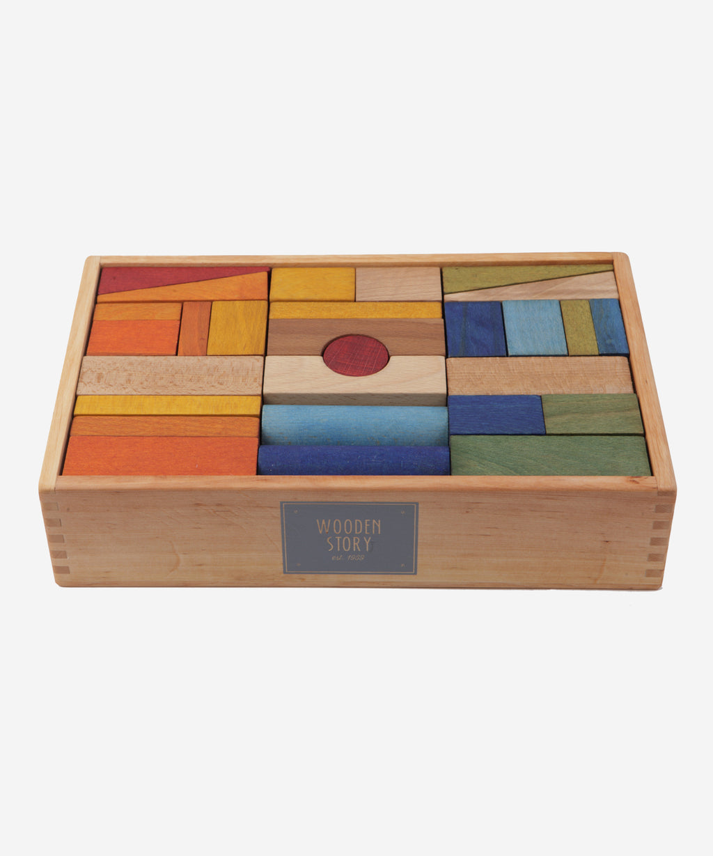 Wooden Story - Rainbow Blocks in Tray XL - 63pcs
