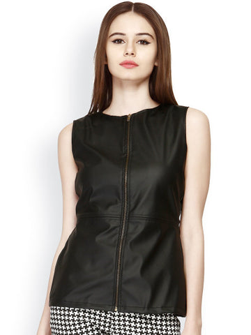 Women Black Leather Top