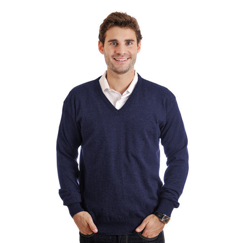 Men Andrew Navy & Ecru Grey Regular Fit Sweater