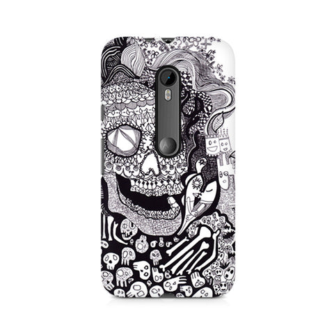 Moto X Style Skull Doodle Abstract