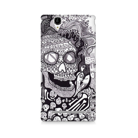 Xperia T2 Skull Doodle Abstract