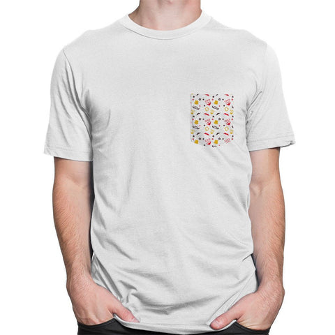 Hiphop Pocket White Roundneck Men's T-shirt - Printrove