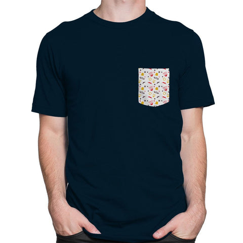 Hiphop Pocket Blue Roundneck Men's T-shirt - Printrove