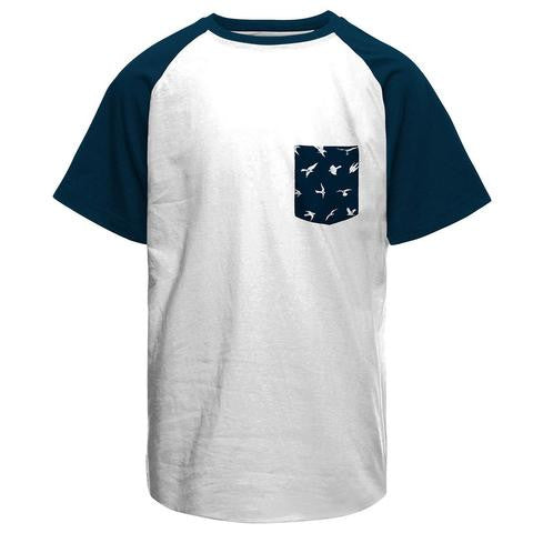 Half Sleeves Birds Funky Pocket White/Navy Combo Raglan T-shirt