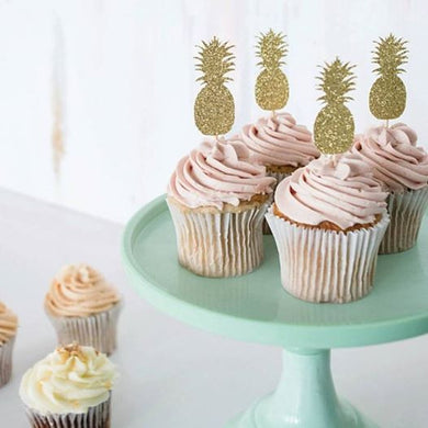 Gold Glitter Pineapple Cupcake Toppers