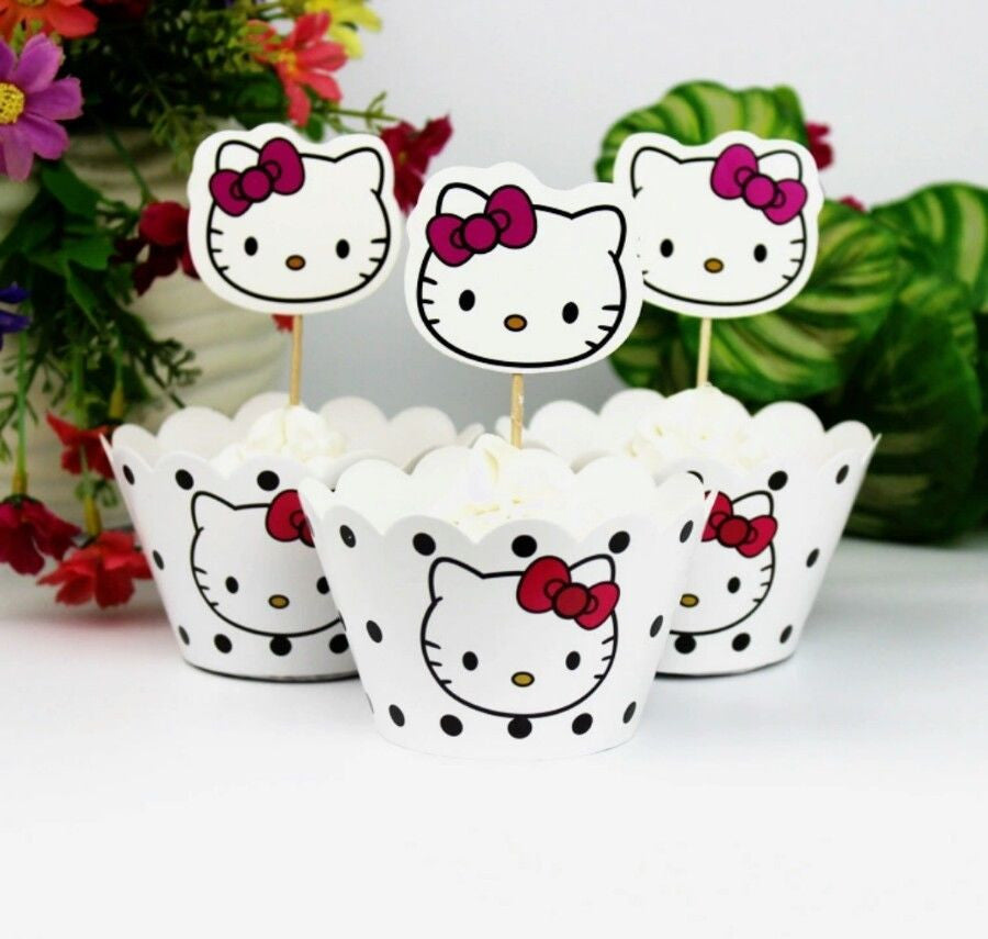 Hello Kitty Cupcake Toppers & Wrappers
