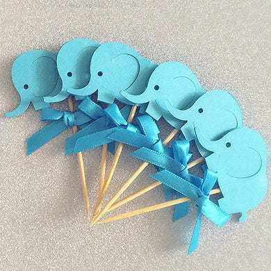 Elephant cupcake toppers with bow