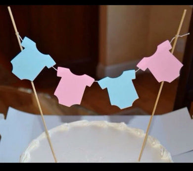 Pink & Blue Onesie Gender Reveal Cake Topper Bunting