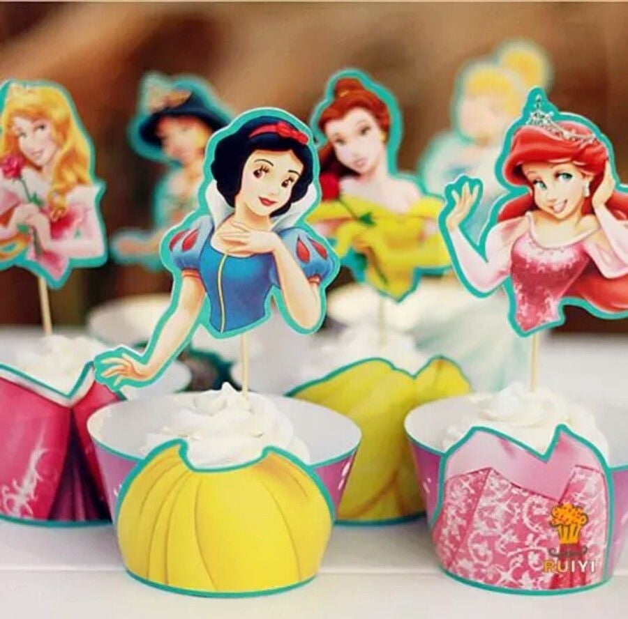 Disney Princess Cupcake Toppers & Wrappers Pack of 12