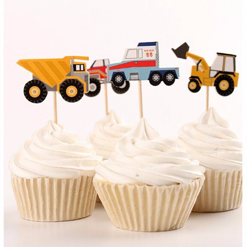 Multi Truck Themed Cupcake Toppers