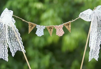 Onesie Gender Reveal Hessian & Lace Bunting Cake Topper
