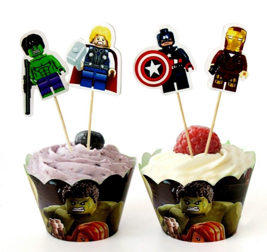 Lego Avengers Cupcake Toppers & Wrappers