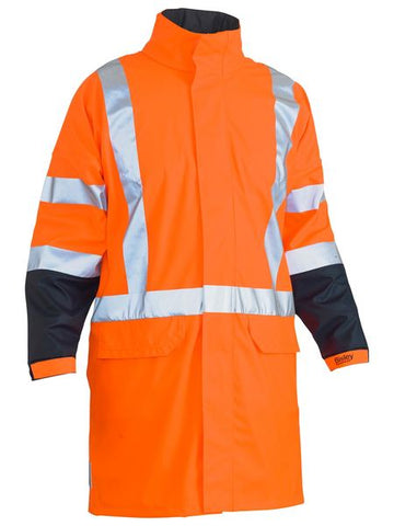 Bisley TTMC-W 3M X Taped Two Tone Hi Vis  Stretch PU Rain Coat-(BJ6955XT)