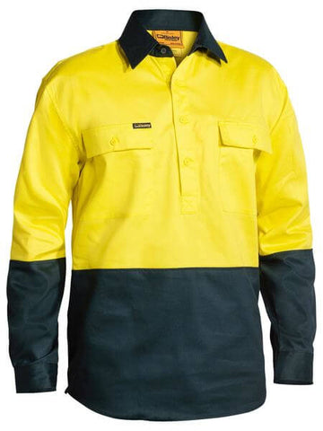 Bisley 2 Tone Closed Front Hi Vis Drill Shirt - Long Sleeve-(BSC6267)