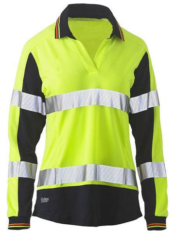 Bisley Womens Long Sleeve Taped Two Tone Hi Vis V-neck Polo (BKL6225T)