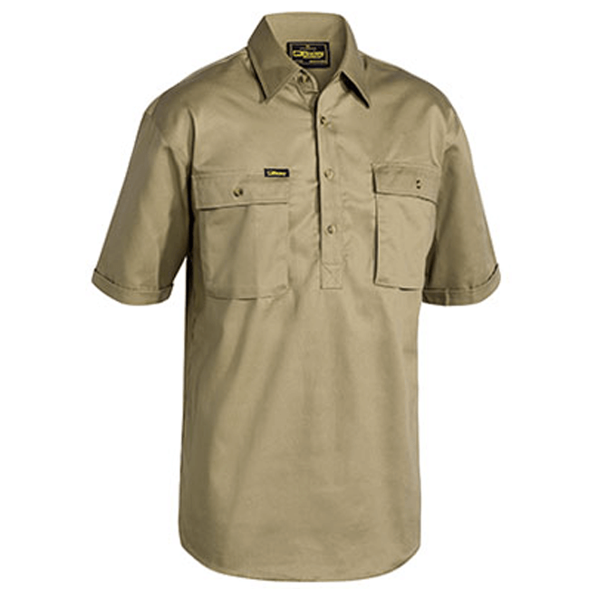 Bisley Closed Front Cotton Drill Shirt - Short Sleeve-(BSC1433)