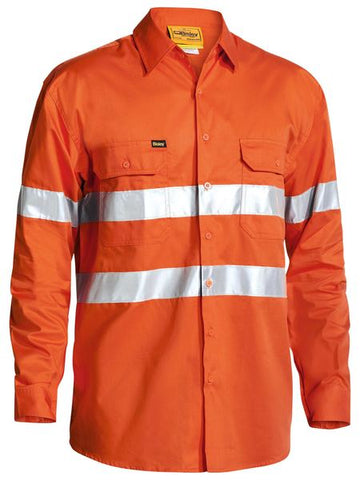 Bisley Cool Lightweight Gusset Cuff Hi Vis Shirt 3M Reflective Tape - Long Sleeve-(BS6897)