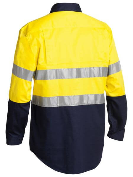 Bisley 2 Tone Hi Vis Cool Lightweight Closed Front Shirt 3M Reflective Tape - Long Sleeve-(BSC6896)