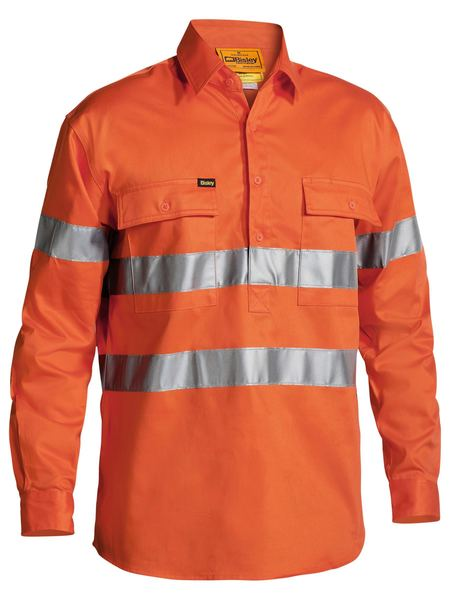 Bisley Hi Vis Closed Front Drill L/S Shirt 3M Reflective Tape-(BTC6482)