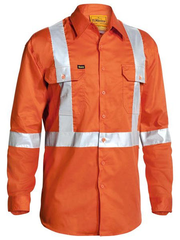 Bisley 3M X Taped Hi Vis Drill Shirt - Long Sleeve-(BS6156T)