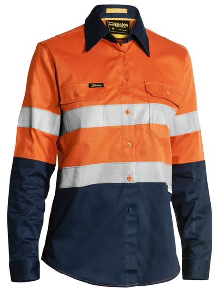 Bisley 3m Taped 2 Tone Womens Hi Vis Industrial Cool Vent Shirt-(BL6448T)