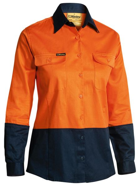 Bisley Ladies 2 Tone Hi Vis Drill Shirt - Long Sleeve-(BL6267)