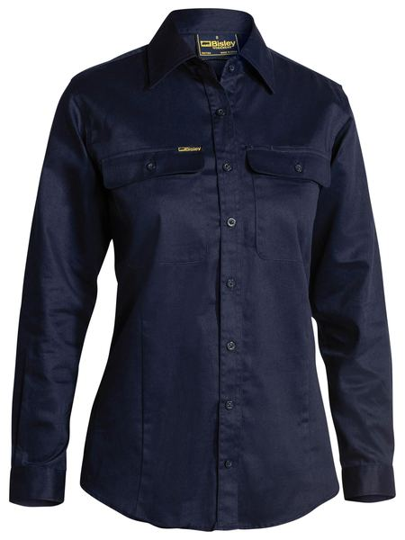 Bisley Ladies Drill Shirt - Long Sleeve-(BL6339)