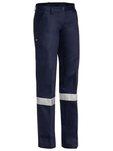 Bisley Ladies Drill Pant 3m Reflective Tape-(BPL6007T)