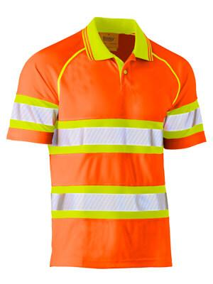 Bisley Tape Double Hi Vis Mesh Polo Shirt - Short Sleeve (BK1223T)