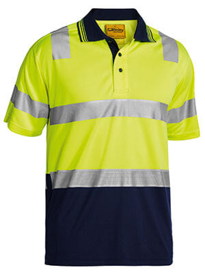 Bisley 3M Taped Hi Vis Two Tone Micromesh Polo Shirt - Short Sleeve-(BK1258T)