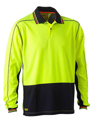 Bisley Two Tone Hi Vis Polyester Mesh Long Sleeve Polo Shirt (BK6219)