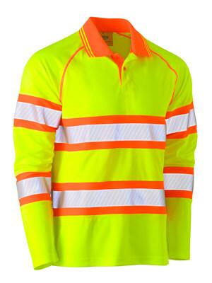 Bisley Tape Double Hi Vis Mesh Polo Shirt - Long Sleeve (BK6223T)