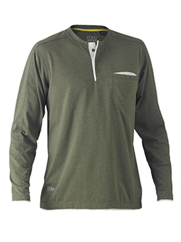 Bisley Flex & Move Cotton Rich Henley Long Sleeve Tee (BK6932)