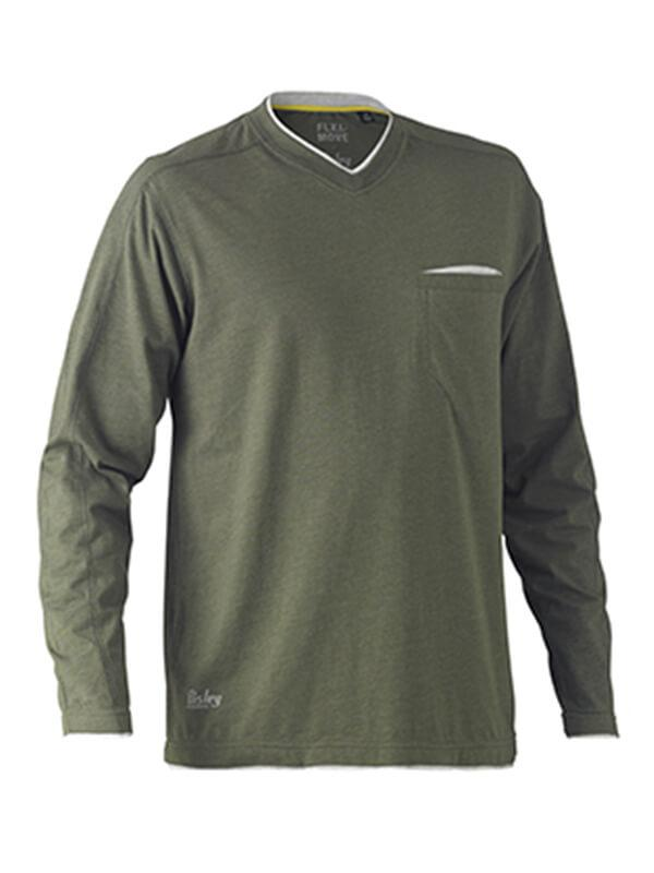 Bisley Flex & Move Cotton Rich V Neck Long Sleeve Tee (BK6933)