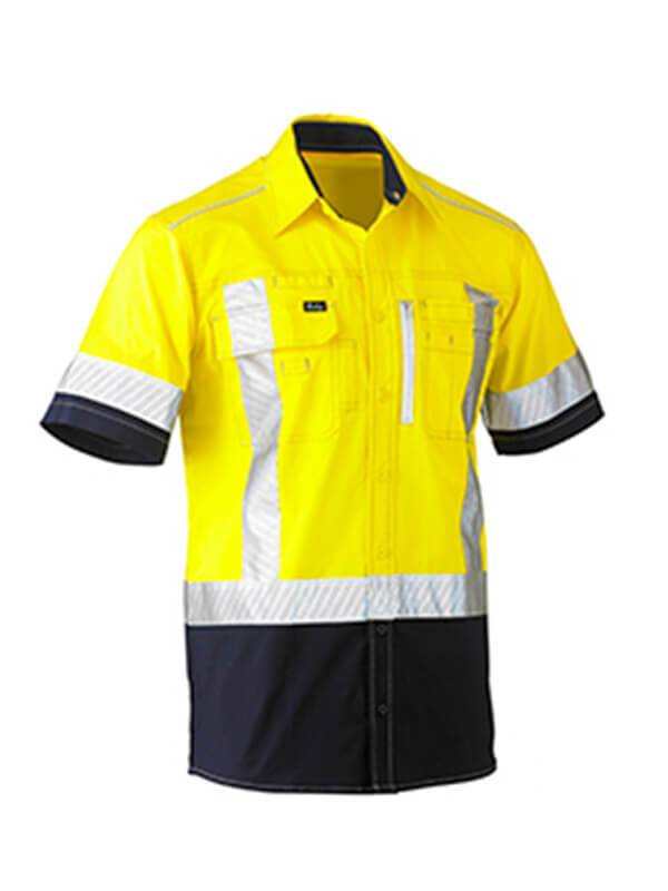 Bisley Flex & Move Two Tone Hi Vis Stretch Utility Shirt-Short Sleeve (BS1177XT)