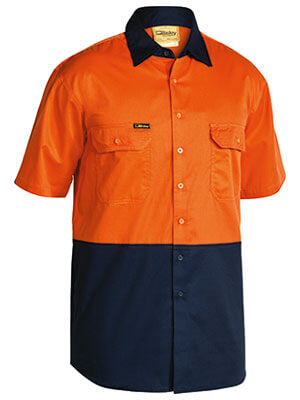 Bisley 2 Tone Cool Lightweight Drill Shirt - Short Sleeve-(BS1895)