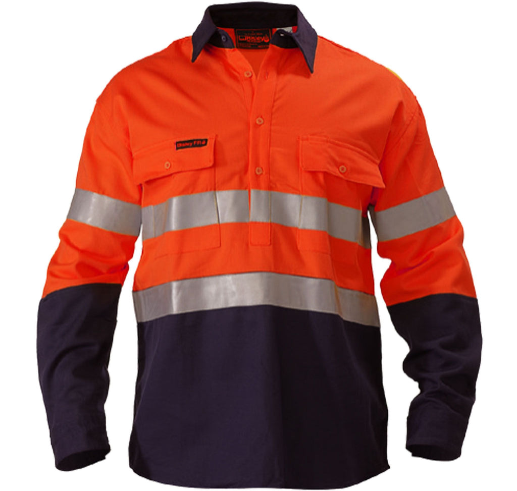 60d16c427351 Bisley Indura® Ultra Soft® Fire Retardant 2 Tone Hi Vis Drill Shirt 3M FR  Reflective Tape - Long Sleeve-(BS8002)
