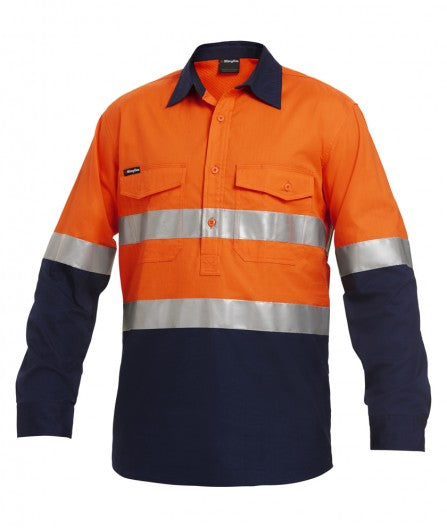KingGee Workcool 2 Reflective Spliced Closed Front Shirt Long Sleeve  (K54886)