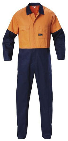 Hard Yakka-Hard Yakka  Hi-visibility Two Tone Cotton Drill Coverall-Orange/Navy / 74L-Uniform Wholesalers - 1