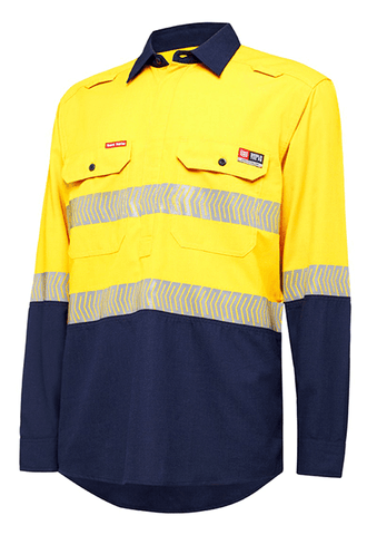Hard Yakka Shieldtec Lenzing Fr Hi-Visibility Two Tone Long Sleeve Closed Front Shirt With Tape (Y04375)