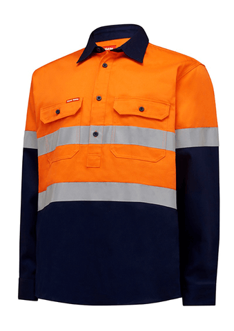 Hard Yakka Hi Vis L/Slv H/Weight Closed Front 2 Tone Cotton Drill Shirt W/Tape (Y04615)
