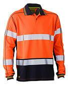 Bisley Taped Two Tone Hi Vis Polyester Mesh Long Sleeve Polo Shirt (BK6219T)